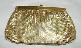 Vintage WHITING & DAVIS Gold Metal Mesh Evening Bag Coin Purse H - $39.60