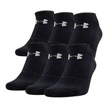 Under Armour U320M Mens Charged Cotton 2.0 No Show 6 Pack, Black/Gray, L... - $28.68