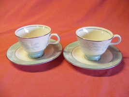 2 Homer Laughlin Cavalier Romance Cups & Saucers Aqua - $9.95