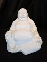 Buddha statue White Sitting Meditation Ceramic - $20.55