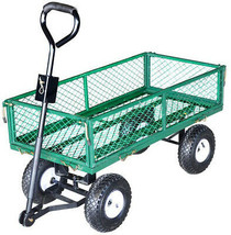 Steel Core Yard Cart 37.2 in. x 19.29 Bed 330 lb.Capacity Removable Mesh... - $150.23 CAD