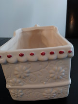 Vintage Hand Painted White Flowered Train Ceramic Planter Made in China image 4