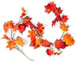 CraftMore Fiery Maple Fall Leaf Garland 6' image 2