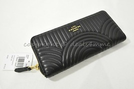 NWT Coach 39634 Slim Accordion Quilted Leather Zip Wallet in Black - $159.00