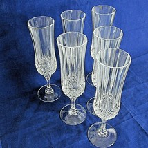 Crystal Champagne Flute Glass Longchamp Cristal D'Arque Clear Set of 6 S... - $89.09
