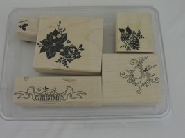 Stampin Up Pines & Poinsettias Christmas Stamps Rubber Wood Holiday Pine... - $16.82