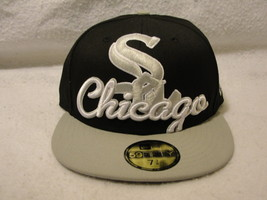Chicago White Sox black/gray cap/hat size 7 3/8 New Era with Silver/whit... - $9.45