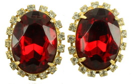VINTAGE BIG CHUNKY OVAL FACETED RED GLASS & CLEAR RHINESTONE CLIP BACK E... - $48.59