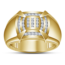 14k Yellow Gold 925 Silver Men's Band Engagement Pinky Ring Round Cut White CZ - $89.60