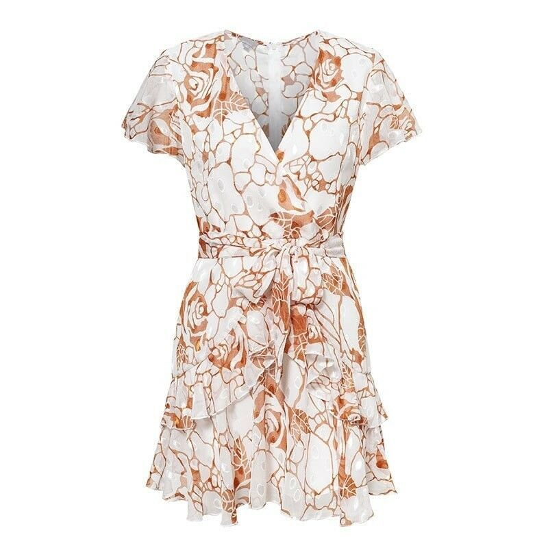 Women Dress Short Sleeve Casual Fashion Sexy Summer Bohemian Vintage Floral Boho