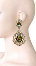 "3.5"" Long Victorian Inspired Iridescent Green Crystal Evening Clip On Ea... - $20.90"