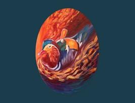 "Mandarin duck oil painting original 10""×14"" (25×35cm) canvas cardboard - $60.00"
