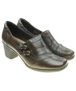 Bass TONIA Womens Brown Leather Block Heel Slip-ons Shoes Size 8.5M - $14.10