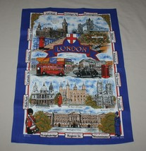 "London Historic Sites Blue EPL Kitchen Dish Tea Towel Cotton 20"" x 30"" New - $7.91"