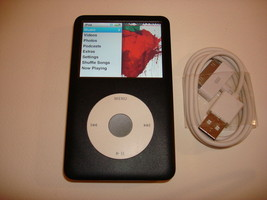 APPLE  iPOD  CLASSIC  6TH GEN.  CUStOM  BLACK  160GB...NEW  HARD DRIVE... - $158.39