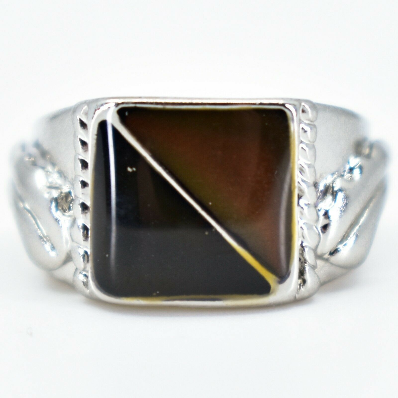 Geometric Square Triangle Color Changing Contrasting Silver Painted Mood Ring