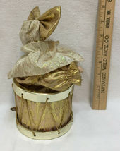 Girl Jester Music Box Drum Song Evergreen Animated Porcelain Goldtone Fabric Bow image 5