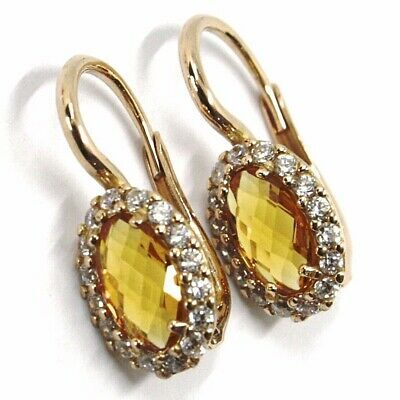 18K ROSE GOLD LEVERBACK FLOWER EARRINGS OVAL YELLOW CRYSTAL CUBIC ZIRCONIA FRAME