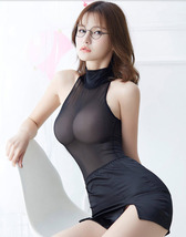 97L004 Sexy Body-building perspective clothes,teddy & skirt,free size,black - $38.80