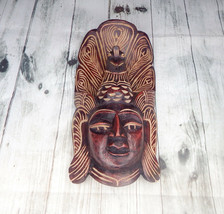 Hand Carved Wood Wall Home Decor Ethnic Asian Queen Cobra Mask Art Sculp... - $24.31