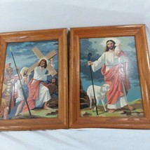 VTG Pair Of Completed PBN Jesus Carrying The Cross and Jesus The Shepard... - $46.74
