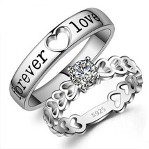 Forever Love Couple Wedding Ring Set 14k White Gold Over 925 Silver Round Cut CZ - $96.80