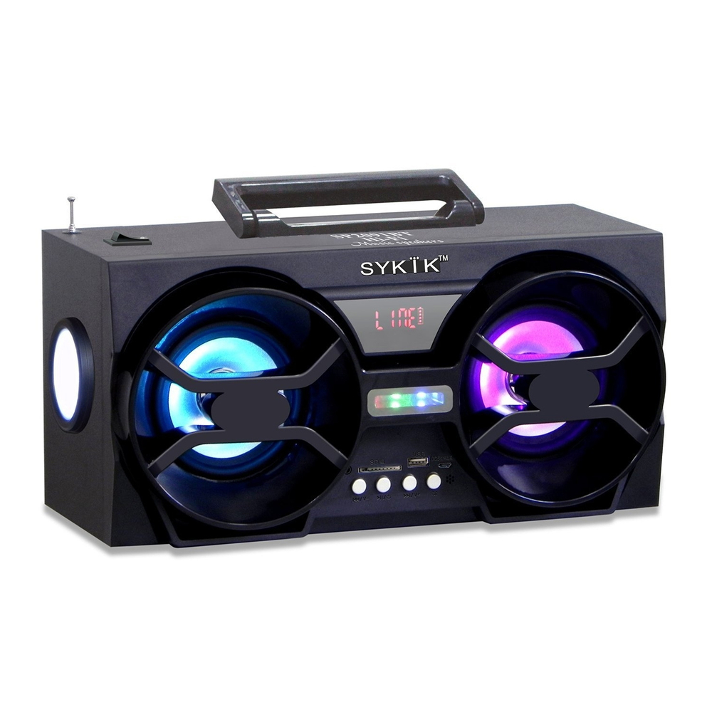 Sykik Bluetooth Boom Box with SD/MMC/USB, FM Radio, Built-in Rechargeable Batter