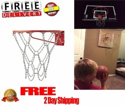 Basketball Hoop Chain Net Ring Heavy Duty Steel Rim Replacement Rust Mad... - $10.36