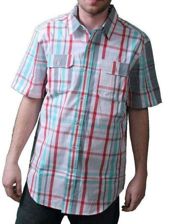 DGK White Grey Red Green plaid Short Sleeve BBQ Woven Button Up Shirt NWT