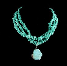 Chunky LARGE turquoise choker - big Vintage Tribal Jewelry - Hippie styl... - $145.00