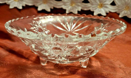 "Vintage Starburst Three Legged Pressed Glass Candy Condiment Bowl 7"" Diameter image 2"