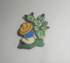 JOSE FREDERICO Sterling Silver Enamel Cactus Man Sombrero Siesta Vintage... - $38.00