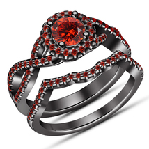 Women's Wedding Ring Set 14k Black Gold Plated 925 Silver Round Cut Red Garnet - $103.68