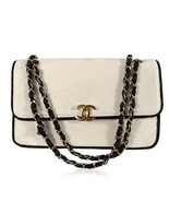 Authentic Chanel Vintage White Quilted Leather Shoulder Bag with Cord Trim - $2,178.00