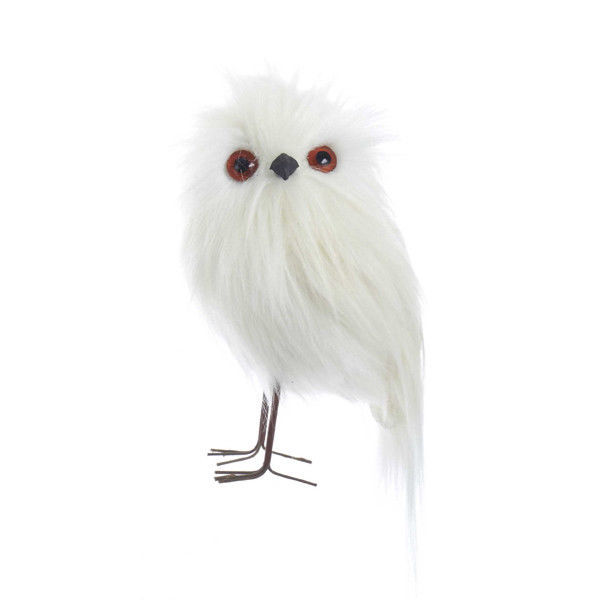 White Furry Owls Ornaments