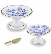 DOLLHOUSE 3-piece Blue Onion Cake Serving Set 1.663/5 Reutter Miniature - $16.40