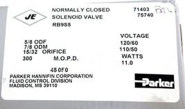 NIB PARKER RB9S5 GENERAL PURPOSE VALVE COIL: R-23, M.O.P.D. 300, 15/32 ORIFICE