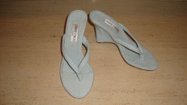 Stylish, Sold Out, Nwb Jimmy Choo Pastel Blue Terry Cloth Wedge Sandals - $280.00
