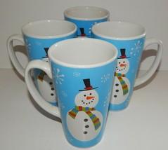 4 Christmas Stoneware Tall Large Mugs Cups Snow Flake Snowman Design Blu... - $39.59