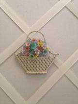 Vintage Czech Glass Flower Metal Basket Brooch - $75.00