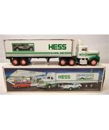 Vintage 1992 Hess 18 Wheeler & Racer Friction Motor Semi Truck Amerada G... - $25.23