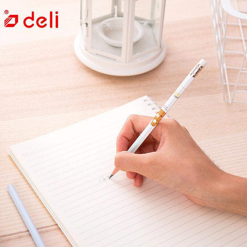 Deli® Pencil 12Pcs Cute Carbon Black Pencil Wood Standard 2B Pencils With Eraser image 4