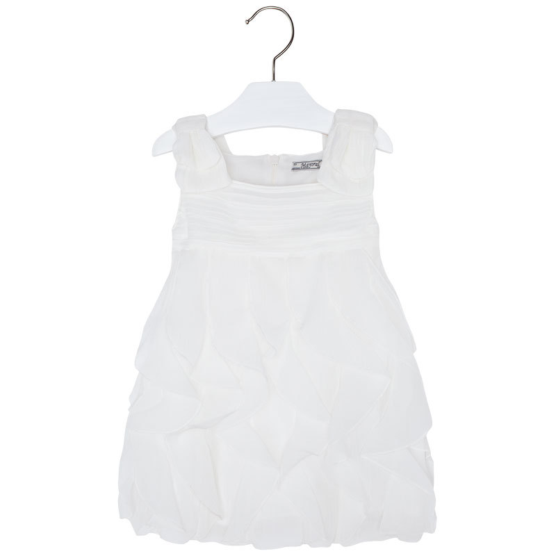 Mayoral Little Girls 2T-9 Cream-Ivory Cascade Ruffle Social Party Dress