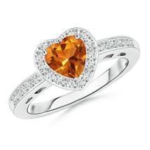 6mm Heart-Shape Heirloom AAAA Citrine Diamond Halo Ring Gold/Platinum - $1,101.62+