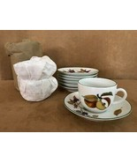 Set of 6 Royal Worcester Evesham gold fruit Cup and saucer lot coffee mu... - $64.50