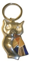 Aluminum owl key chain with wood   blue burned thumb200