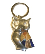 Recycled Aluminum Owl Key Chain with Wood Blue Matting - $17.81