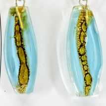 Handmade Recycled Fused Glass Blue & Brown Oval Surf Hook Earrings Made Ecuador image 3