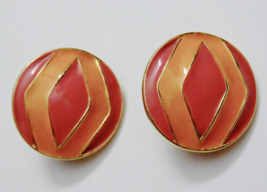 R.J. Graziano Earrings Tangerine Pink Enamel on Gold Plated Clip-ons Vin... - $16.99