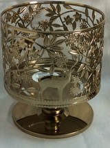Pedestal 3-Wicks Candle Holder Gold Tone Metal, Reindeer, Bath and Body Works. - $17.58